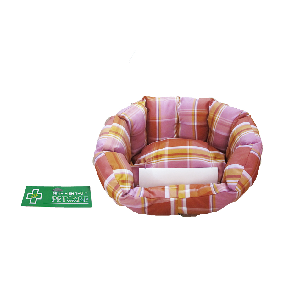 Pink and brown striped cuddler pet bed